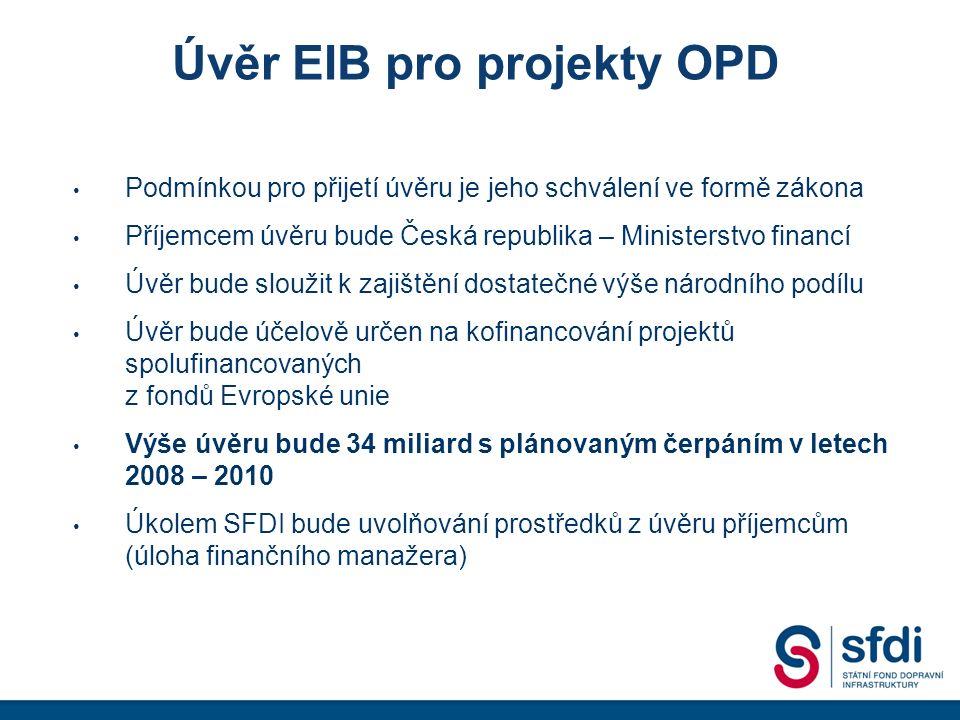 Úvěr EIB pro projekty OPD Podmínkou pro přijetí úvěru je jeho schválení ve formě zákona Příjemcem úvěru bude Česká republika – Ministerstvo financí Úvěr bude sloužit k zajištění dostatečné výše národního podílu Úvěr bude účelově určen na kofinancování projektů spolufinancovaných z fondů Evropské unie Výše úvěru bude 34 miliard s plánovaným čerpáním v letech 2008 – 2010 Úkolem SFDI bude uvolňování prostředků z úvěru příjemcům (úloha finančního manažera)