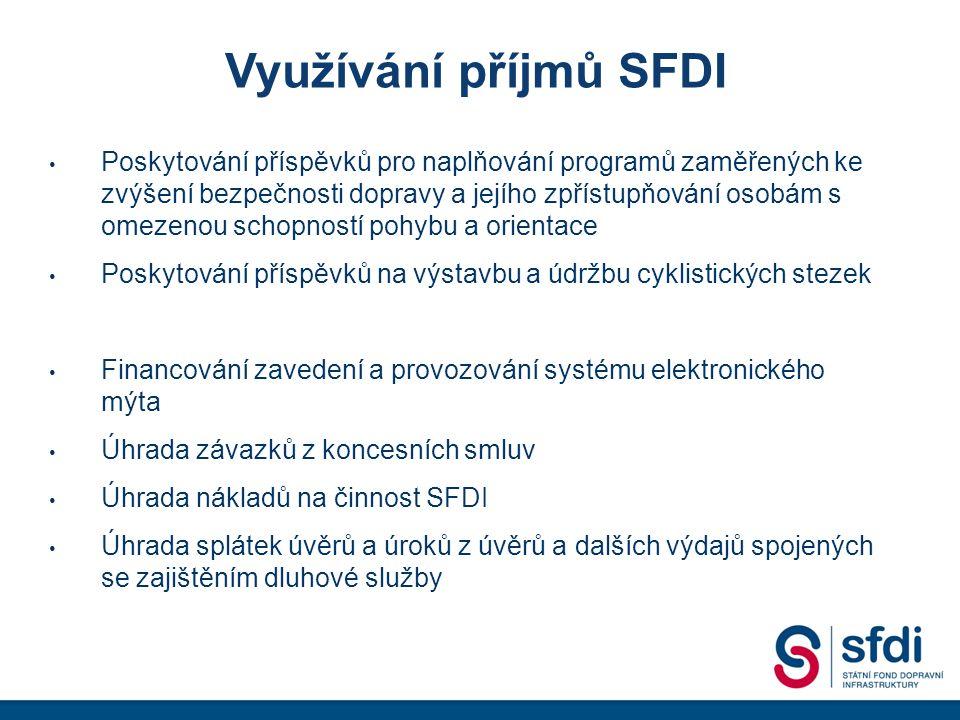 Využívání příjmů SFDI Poskytování příspěvků pro naplňování programů zaměřených ke zvýšení bezpečnosti dopravy a jejího zpřístupňování osobám s omezenou schopností pohybu a orientace Poskytování příspěvků na výstavbu a údržbu cyklistických stezek Financování zavedení a provozování systému elektronického mýta Úhrada závazků z koncesních smluv Úhrada nákladů na činnost SFDI Úhrada splátek úvěrů a úroků z úvěrů a dalších výdajů spojených se zajištěním dluhové služby