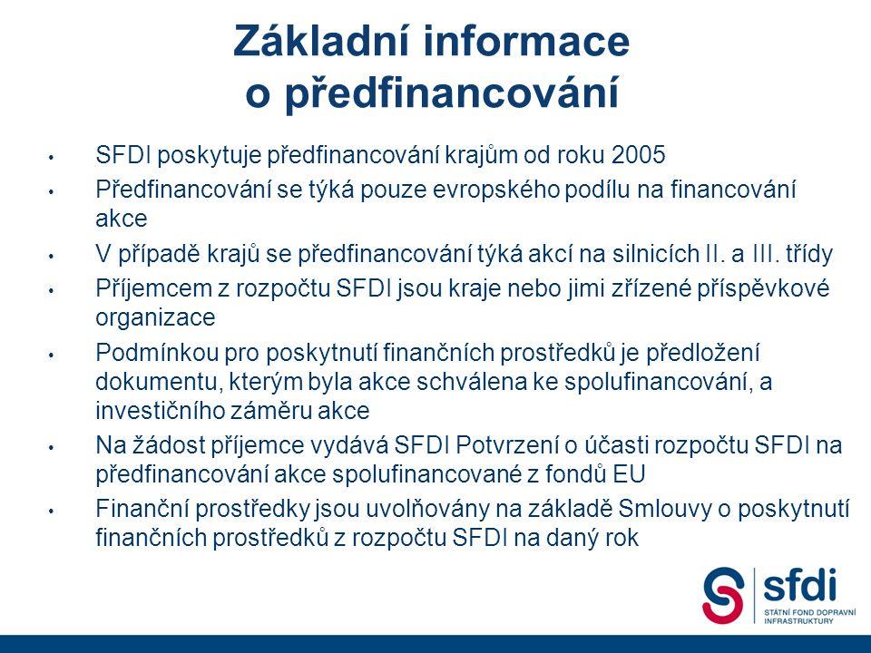Základní informace o předfinancování SFDI poskytuje předfinancování krajům od roku 2005 Předfinancování se týká pouze evropského podílu na financování akce V případě krajů se předfinancování týká akcí na silnicích II.