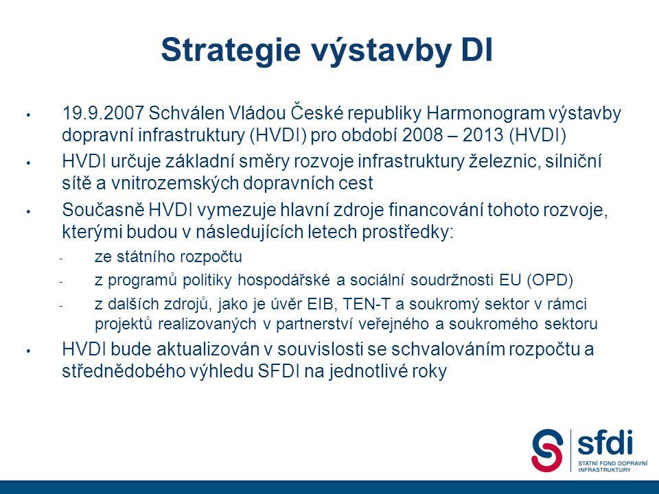 Strategie výstavby DI 19.9.2007 Schválen Vládou České republiky Harmonogram výstavby dopravní infrastruktury (HVDI) pro období 2008 – 2013 (HVDI) HVDI určuje základní směry rozvoje infrastruktury železnic, silniční sítě a vnitrozemských dopravních cest Současně HVDI vymezuje hlavní zdroje financování tohoto rozvoje, kterými budou v následujících letech prostředky: - ze státního rozpočtu - z programů politiky hospodářské a sociální soudržnosti EU (OPD) - z dalších zdrojů, jako je úvěr EIB, TEN-T a soukromý sektor v rámci projektů realizovaných v partnerství veřejného a soukromého sektoru HVDI bude aktualizován v souvislosti se schvalováním rozpočtu a střednědobého výhledu SFDI na jednotlivé roky