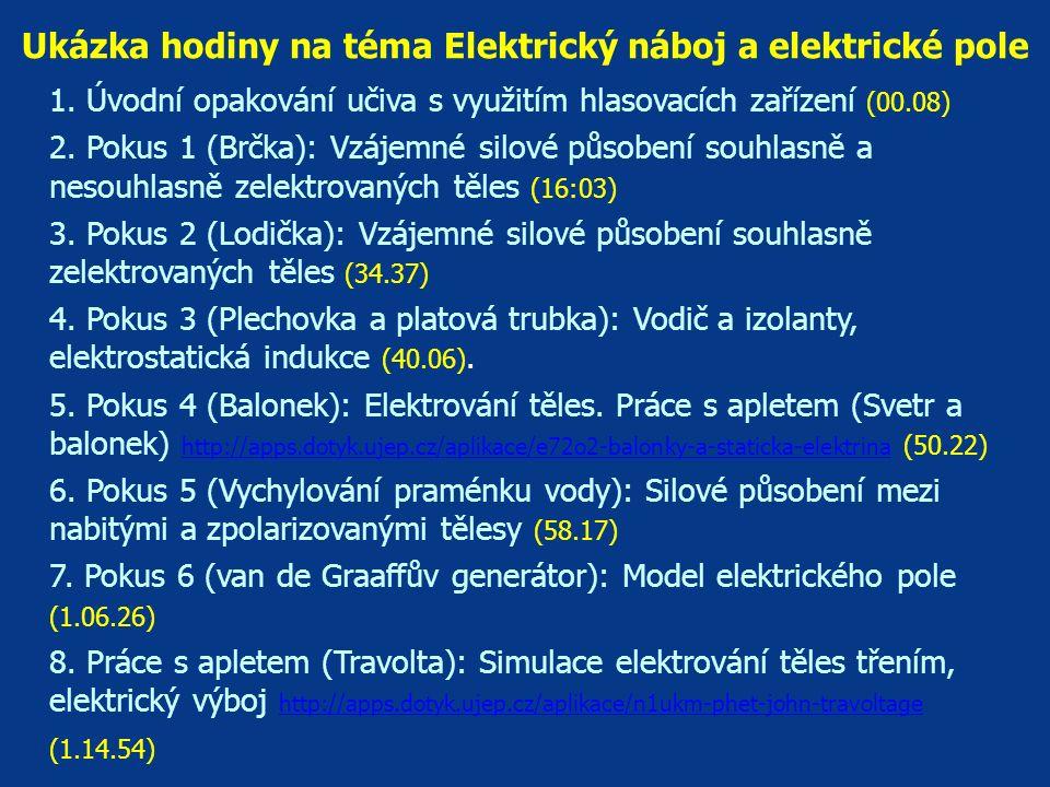 Ukázka hodiny na téma Elektrický náboj a elektrické pole 1. Úvodní opakování učiva s využitím hlasovacích zařízení (00.08) 2. Pokus 1 (Brčka): Vzájemn