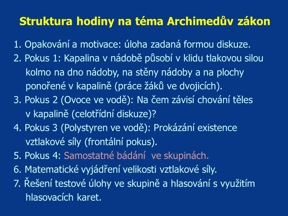 Struktura hodiny na téma Archimedův zákon 1. Opakování a motivace: úloha zadaná formou diskuze. 2. Pokus 1: Kapalina v nádobě působí v klidu tlakovou