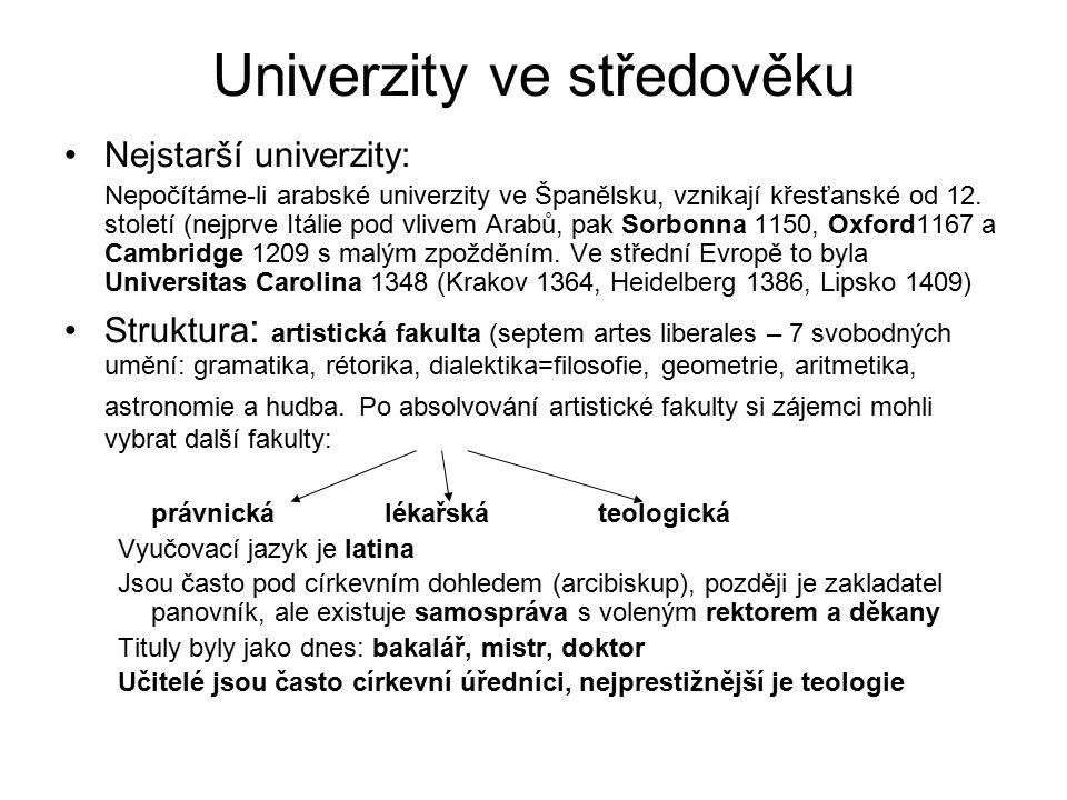 Univerzity ve středověku Nejstarší univerzity: Nepočítáme-li arabské univerzity ve Španělsku, vznikají křesťanské od 12.
