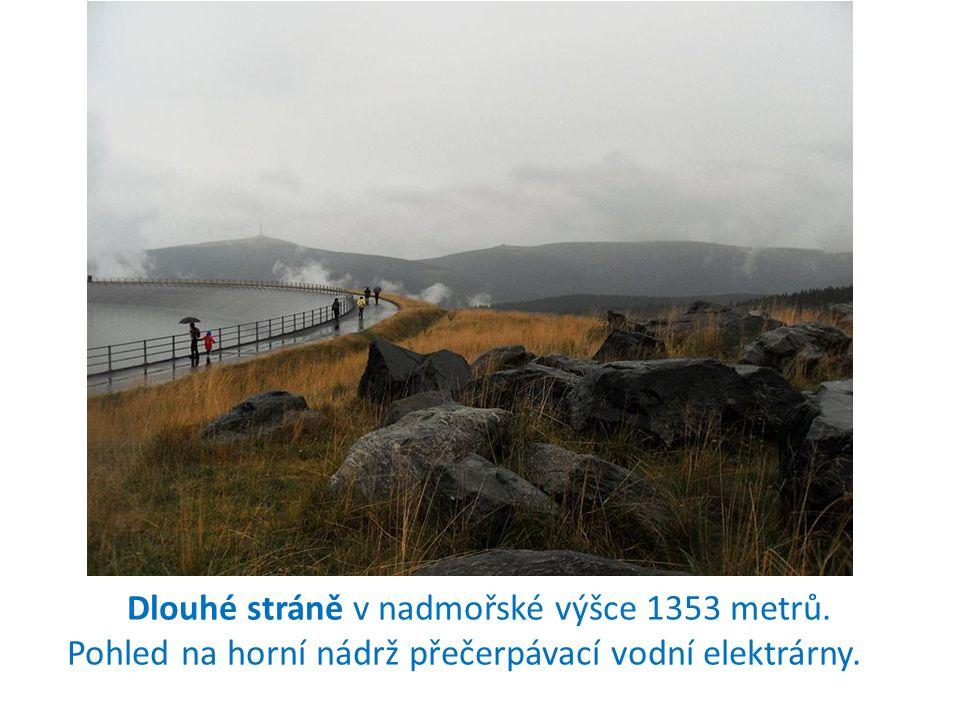 Dlouhé stráně v nadmořské výšce 1353 metrů. Pohled na horní nádrž přečerpávací vodní elektrárny.