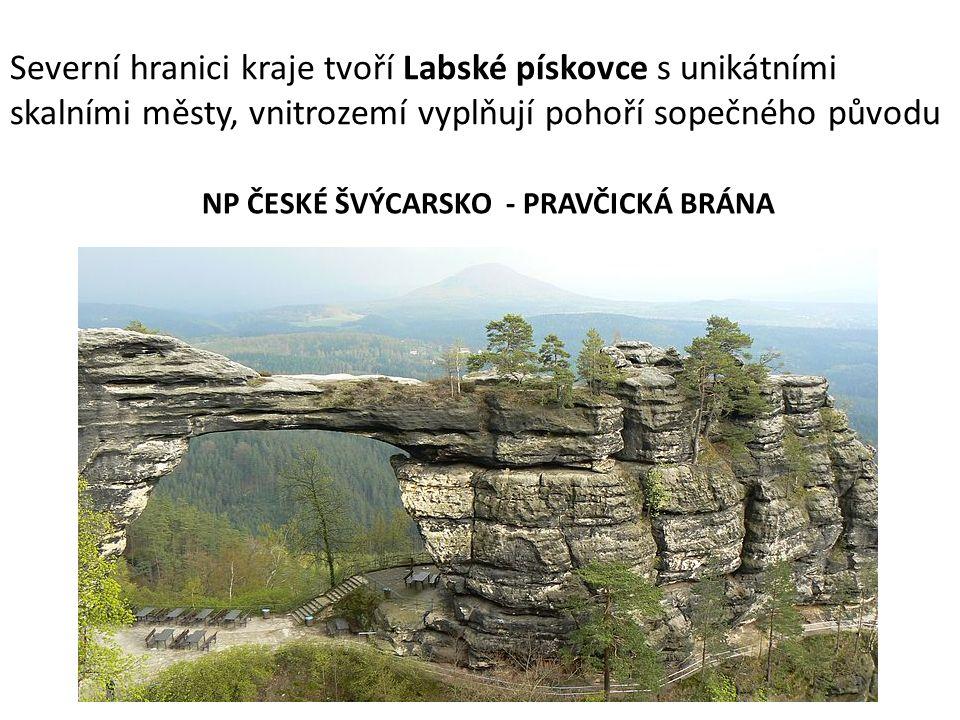 Severní hranici kraje tvoří Labské pískovce s unikátními skalními městy, vnitrozemí vyplňují pohoří sopečného původu NP ČESKÉ ŠVÝCARSKO - PRAVČICKÁ BR