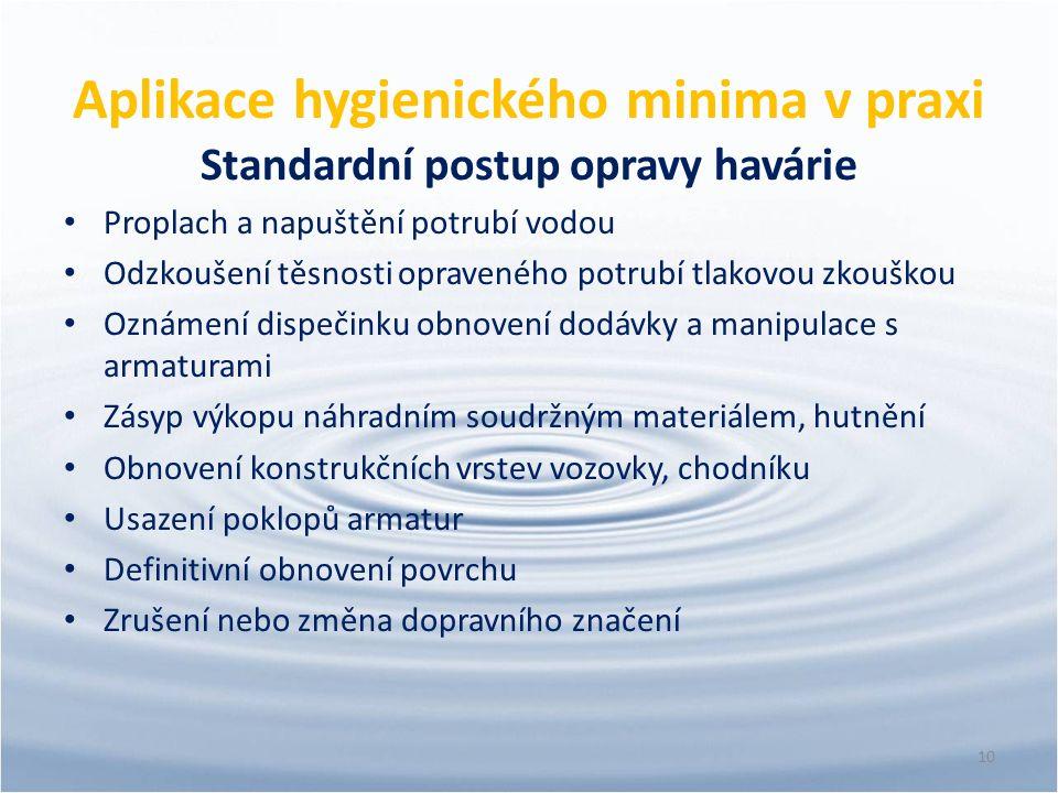 Aplikace hygienického minima v praxi Standardní postup opravy havárie Proplach a napuštění potrubí vodou Odzkoušení těsnosti opraveného potrubí tlakov