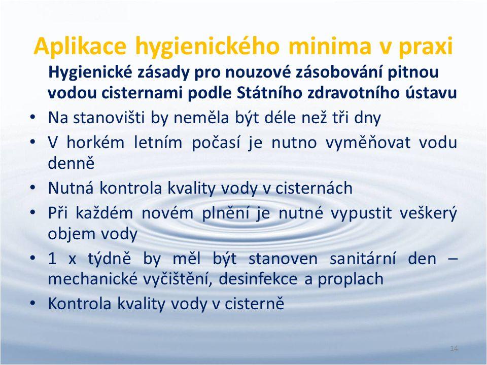 Aplikace hygienického minima v praxi Hygienické zásady pro nouzové zásobování pitnou vodou cisternami podle Státního zdravotního ústavu Na stanovišti