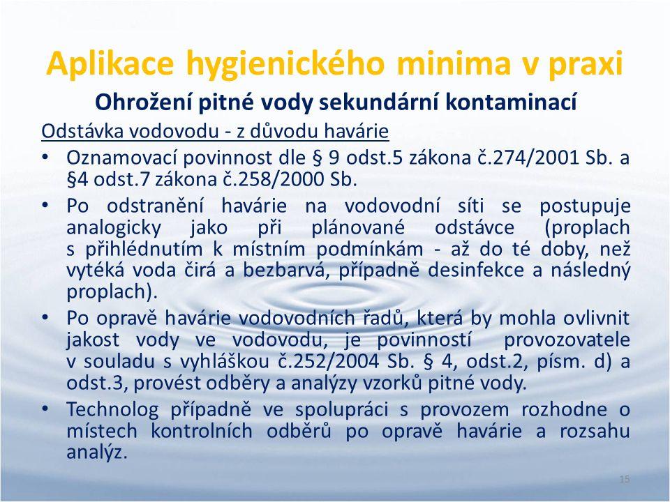 Aplikace hygienického minima v praxi Ohrožení pitné vody sekundární kontaminací Odstávka vodovodu - z důvodu havárie Oznamovací povinnost dle § 9 odst