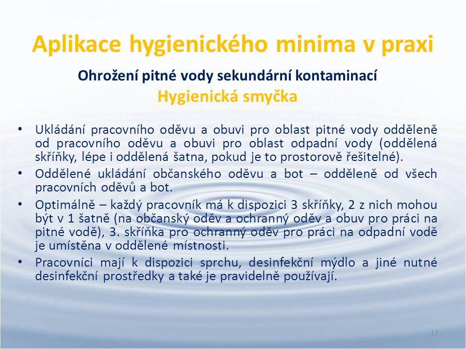 Aplikace hygienického minima v praxi Ohrožení pitné vody sekundární kontaminací Hygienická smyčka Ukládání pracovního oděvu a obuvi pro oblast pitné v