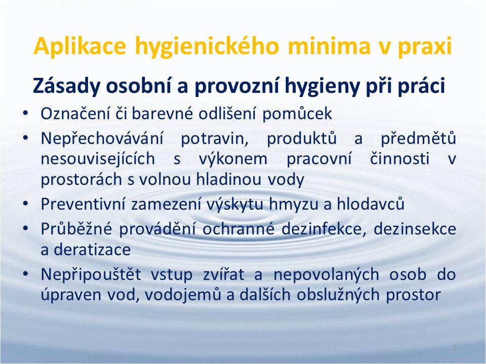 Aplikace hygienického minima v praxi Zásady osobní a provozní hygieny při práci Označení či barevné odlišení pomůcek Nepřechovávání potravin, produktů