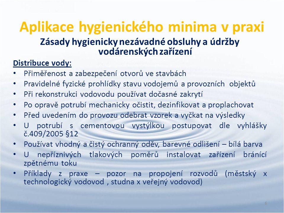 Aplikace hygienického minima v praxi Zásady hygienicky nezávadné obsluhy a údržby vodárenských zařízení Distribuce vody: Přiměřenost a zabezpečení otv