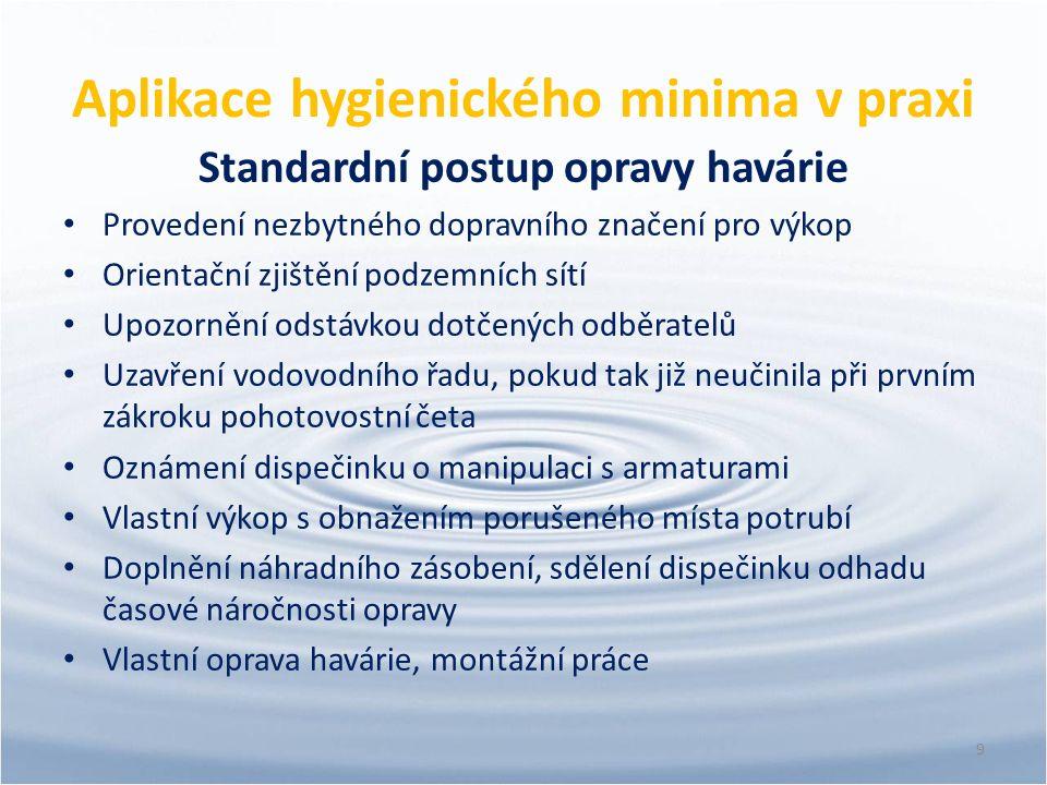 Aplikace hygienického minima v praxi Standardní postup opravy havárie Provedení nezbytného dopravního značení pro výkop Orientační zjištění podzemních