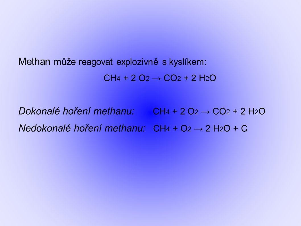 Methan může reagovat explozivně s kyslíkem: CH 4 + 2 O 2 → CO 2 + 2 H 2 O Dokonalé hoření methanu: CH 4 + 2 O 2 → CO 2 + 2 H 2 O Nedokonalé hoření methanu: CH 4 + O 2 → 2 H 2 O + C