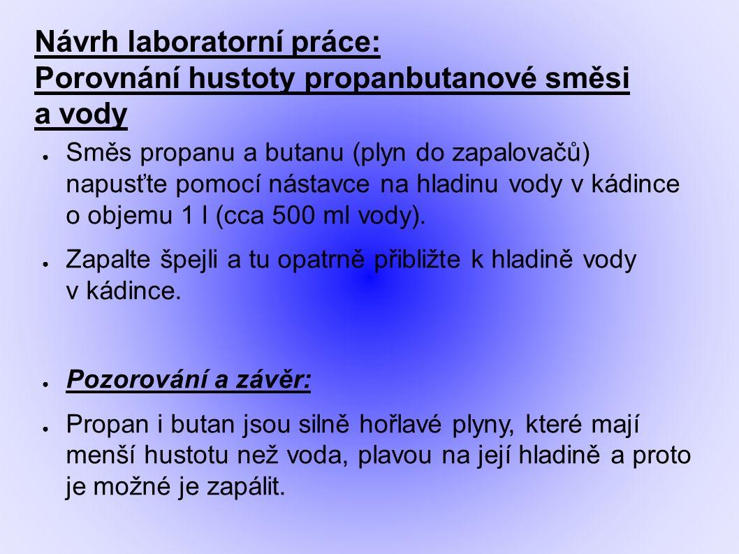 Návrh laboratorní práce: Porovnání hustoty propanbutanové směsi a vody ● Směs propanu a butanu (plyn do zapalovačů) napusťte pomocí nástavce na hladin