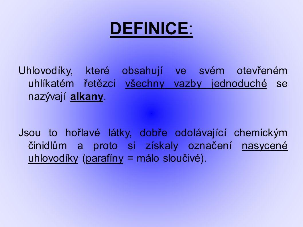 DEFINICE: Uhlovodíky, které obsahují ve svém otevřeném uhlíkatém řetězci všechny vazby jednoduché se nazývají alkany. Jsou to hořlavé látky, dobře odo