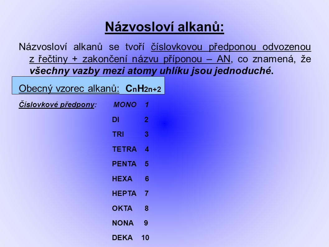 Základní alkany: Methan CH 4 Ethan C 2 H 6 Propan C 3 H 8 Butan C 4 H 10 Pentan C 5 H 12 Hexan C 6 H 14 Heptan C 7 H 16 Oktan C 8 H 18 Nonan C 9 H 20 Dekan C 10 H 22
