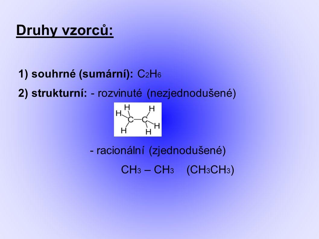 Druhy vzorců: 1) souhrné (sumární): C 2 H 6 2) strukturní: - rozvinuté (nezjednodušené) - racionální (zjednodušené) CH 3 – CH 3 (CH 3 CH 3 )