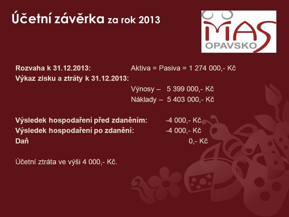 Účetní závěrka za rok 2013 Rozvaha k 31.12.2013: Aktiva = Pasiva = 1 274 000,- Kč Výkaz zisku a ztráty k 31.12.2013: Výnosy – 5 399 000,- Kč Náklady –