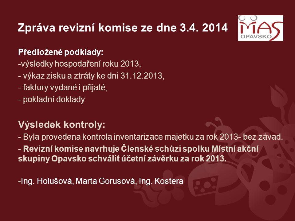 Zpráva revizní komise ze dne 3.4. 2014 Předložené podklady: -výsledky hospodaření roku 2013, - výkaz zisku a ztráty ke dni 31.12.2013, - faktury vydan