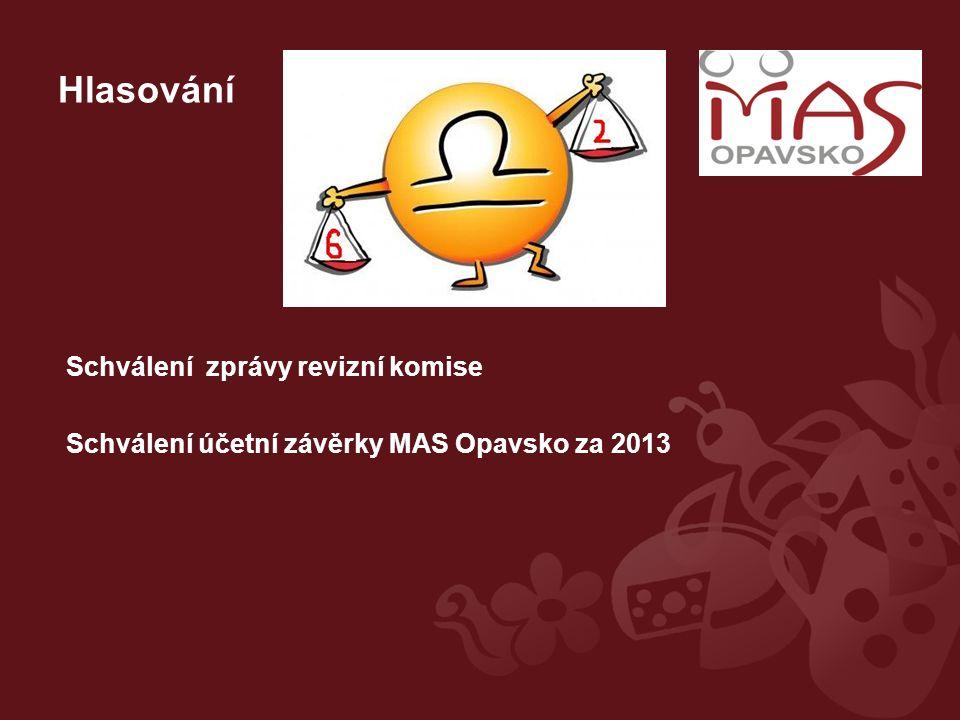 Hlasování Schválení zprávy revizní komise Schválení účetní závěrky MAS Opavsko za 2013