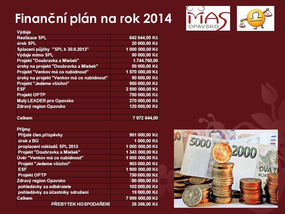 Finanční plán na rok 2014 Výdaje Realizace SPL642 644,00 Kč úrok SPL 20 000,00 Kč Splacení půjčky