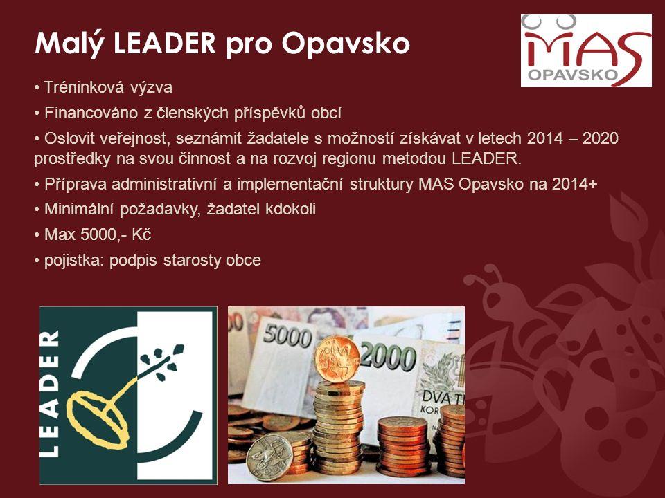 Malý LEADER pro Opavsko Tréninková výzva Financováno z členských příspěvků obcí Oslovit veřejnost, seznámit žadatele s možností získávat v letech 2014 – 2020 prostředky na svou činnost a na rozvoj regionu metodou LEADER.
