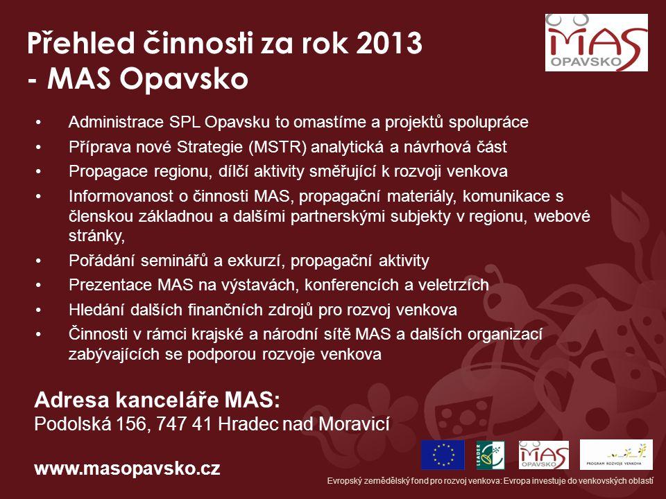 Přehled činnosti za rok 2013 - MAS Opavsko Administrace SPL Opavsku to omastíme a projektů spolupráce Příprava nové Strategie (MSTR) analytická a návr