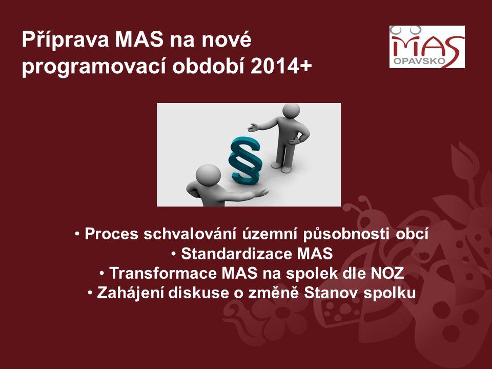 Příprava MAS na nové programovací období 2014+ Proces schvalování územní působnosti obcí Standardizace MAS Transformace MAS na spolek dle NOZ Zahájení diskuse o změně Stanov spolku