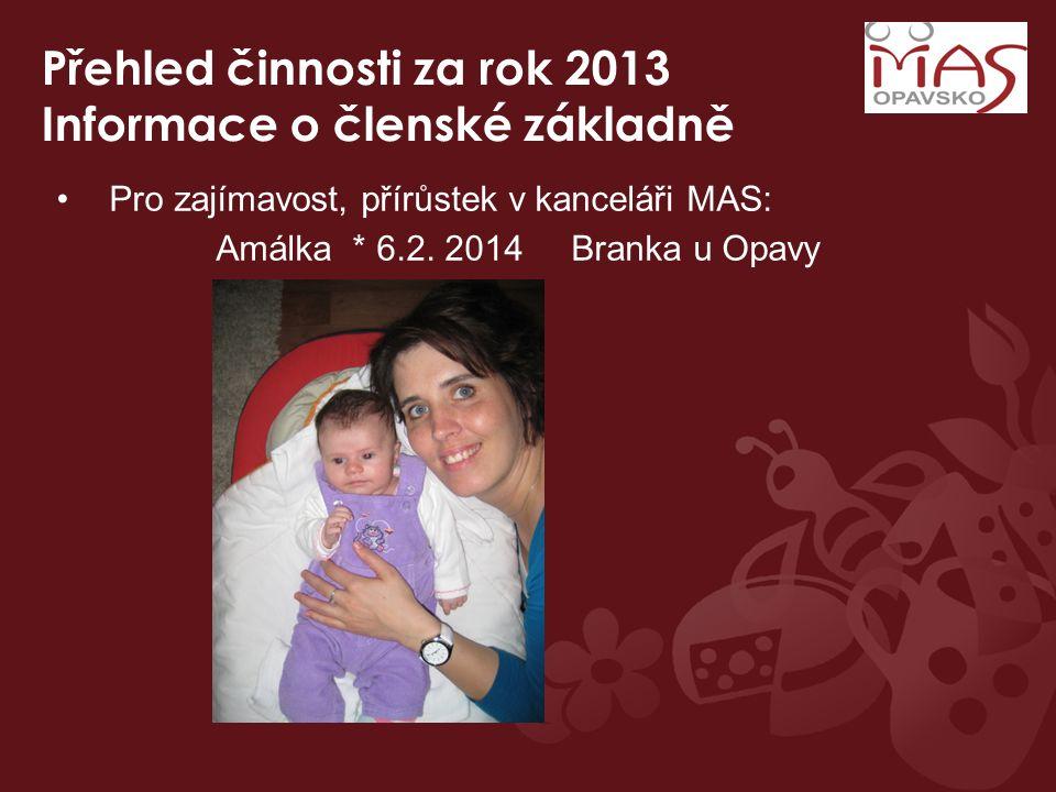 Přehled činnosti za rok 2013 Informace o členské základně Pro zajímavost, přírůstek v kanceláři MAS: Amálka * 6.2. 2014 Branka u Opavy