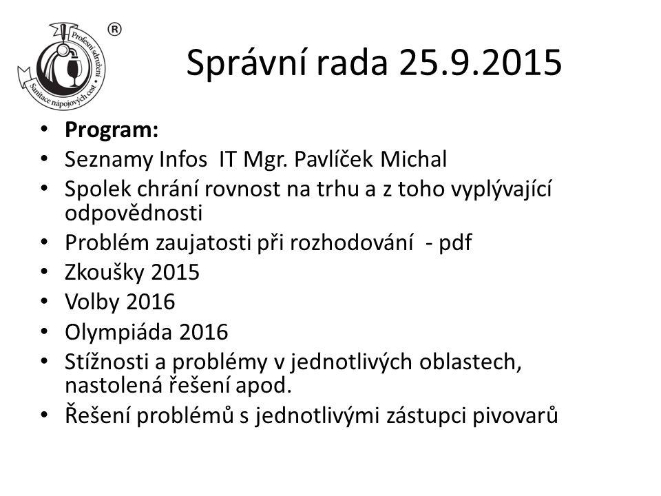 Správní rada 25.9.2015 Program: Seznamy Infos IT Mgr.