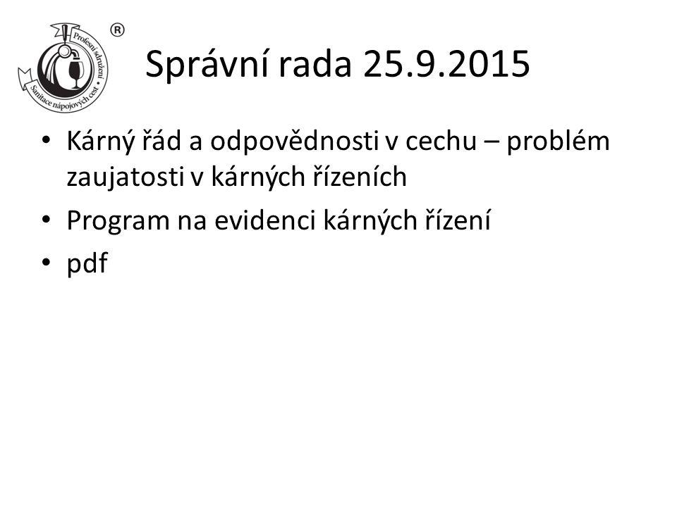 Správní rada 25.9.2015 Kárný řád a odpovědnosti v cechu – problém zaujatosti v kárných řízeních Program na evidenci kárných řízení pdf
