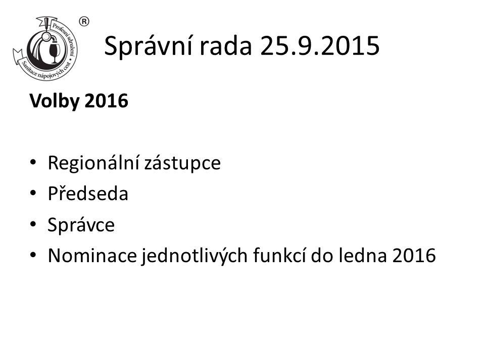 Správní rada 25.9.2015 Volby 2016 Regionální zástupce Předseda Správce Nominace jednotlivých funkcí do ledna 2016