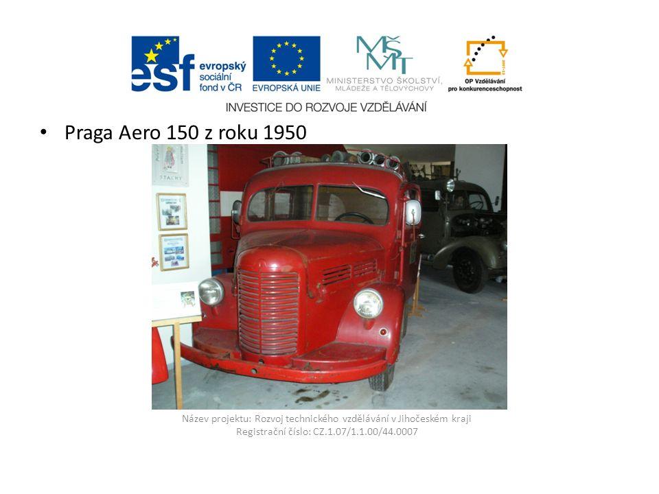 Název projektu: Rozvoj technického vzdělávání v Jihočeském kraji Registrační číslo: CZ.1.07/1.1.00/44.0007 Praga Aero 150 z roku 1950