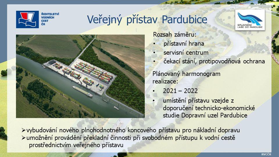 Rozsah záměru: přístavní hrana servisní centrum čekací stání, protipovodňová ochrana Plánovaný harmonogram realizace: 2021 – 2022 umístění přístavu vzejde z doporučení technicko-ekonomické studie Dopravní uzel Pardubice  vybudování nového plnohodnotného koncového přístavu pro nákladní dopravu  umožnění provádění překladní činnosti při svobodném přístupu k vodní cestě prostřednictvím veřejného přístavu Veřejný přístav Pardubice