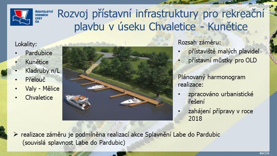 Rozvoj přístavní infrastruktury pro rekreační plavbu v úseku Chvaletice - Kunětice Plánovaný harmonogram realizace: zpracováno urbanistické řešení zahájení přípravy v roce 2018  realizace záměru je podmíněna realizací akce Splavnění Labe do Pardubic (souvislá splavnost Labe do Pardubic) Rozsah záměru: přístaviště malých plavidel přístavní můstky pro OLD Lokality: Pardubice Kunětice Kladruby n/L Přelouč Valy - Mělice Chvaletice