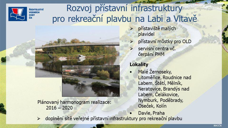 Rozvoj přístavní infrastruktury pro rekreační plavbu na Labi a Vltavě  přístaviště malých plavidel  přístavní můstky pro OLD  servisní centra vč.