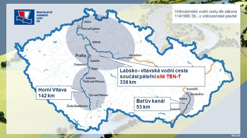 Vnitrozemské vodní cesty dle zákona 114/1995 Sb., o vnitrozemské plavbě Horní Vltava 142 km Labsko - vltavská vodní cesta součást páteřní sítě TEN-T 338 km Baťův kanál 53 km