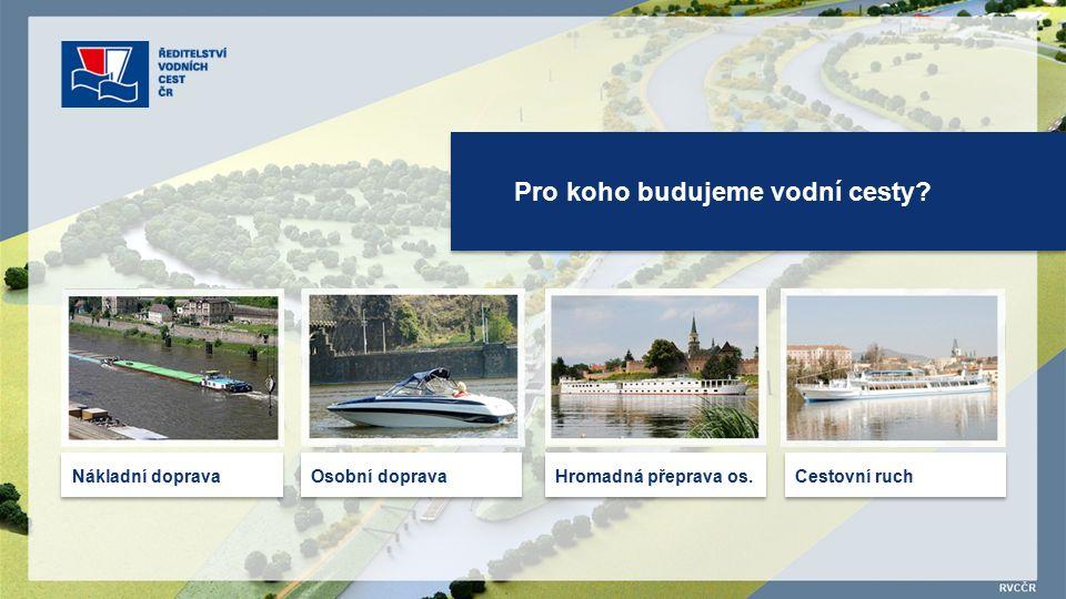 Pro koho budujeme vodní cesty Nákladní doprava Osobní doprava Hromadná přeprava os. Cestovní ruch