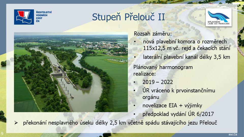 9 Stupeň Přelouč II Rozsah záměru: nová plavební komora o rozměrech 115x12,5 m vč.