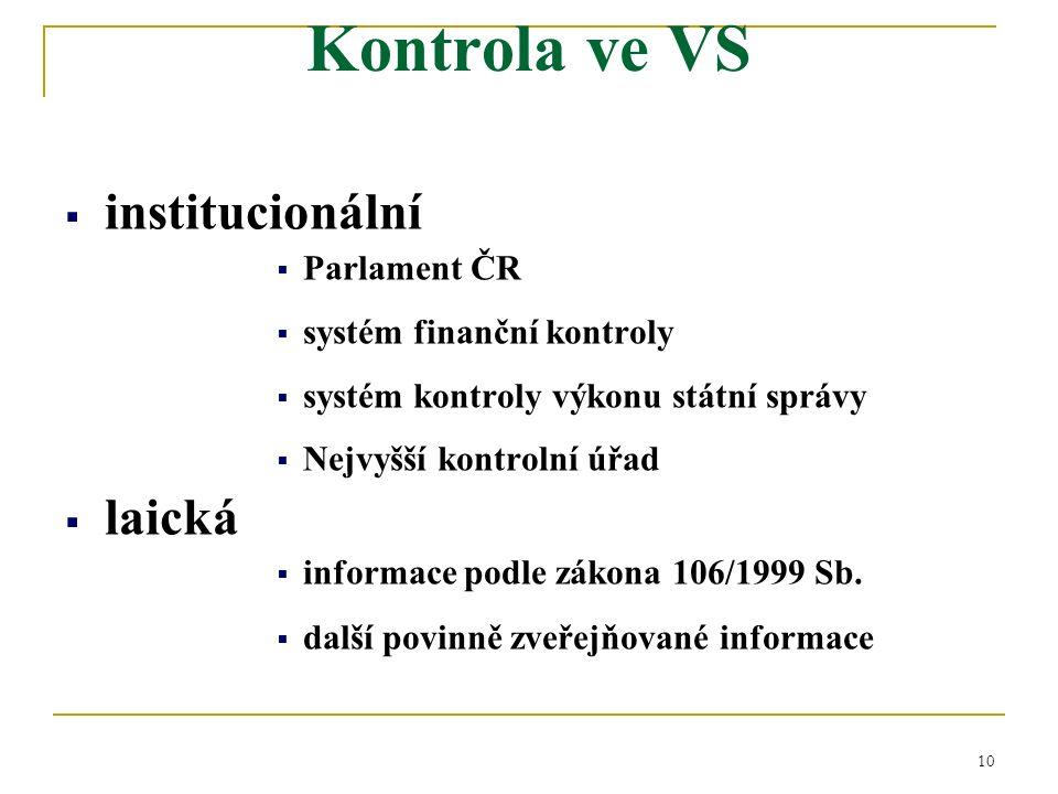 10  institucionální  Parlament ČR  systém finanční kontroly  systém kontroly výkonu státní správy  Nejvyšší kontrolní úřad  laická  informace podle zákona 106/1999 Sb.
