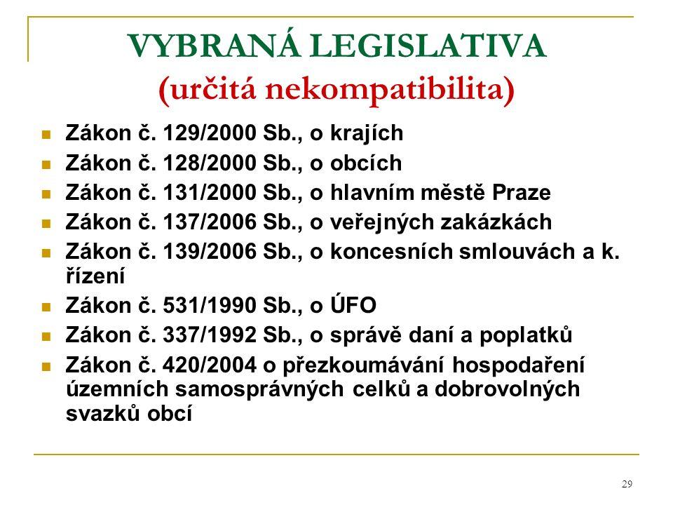 29 VYBRANÁ LEGISLATIVA (určitá nekompatibilita) Zákon č.