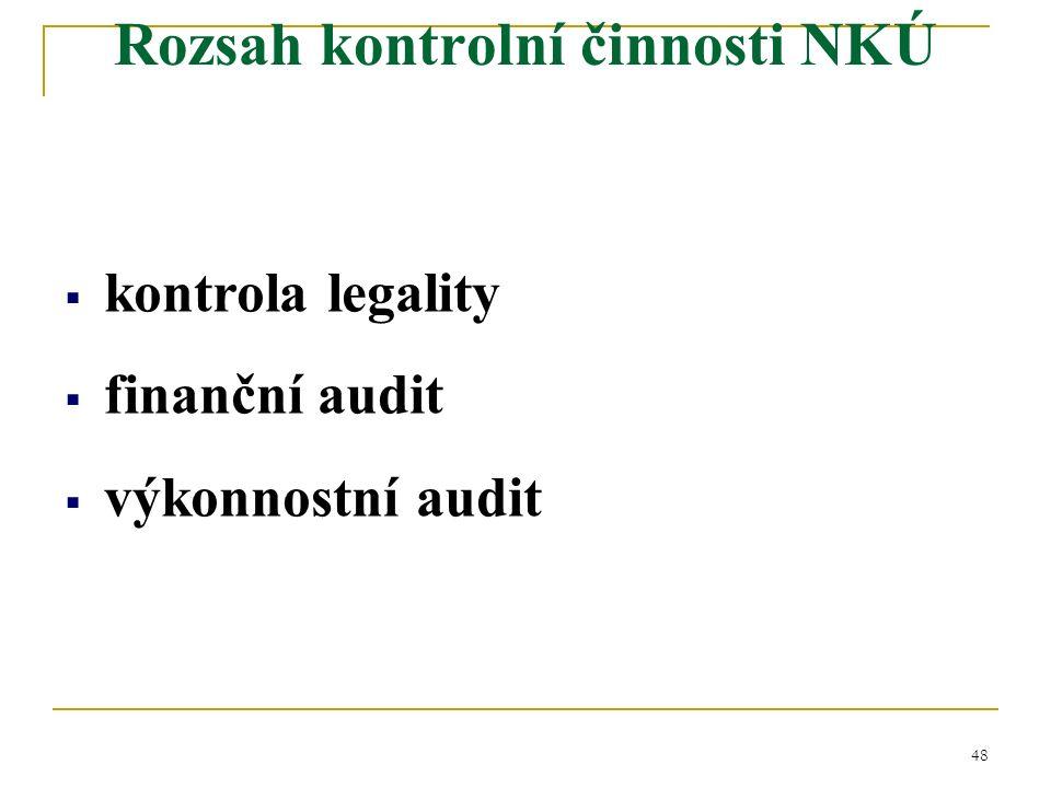 48  kontrola legality  finanční audit  výkonnostní audit Rozsah kontrolní činnosti NKÚ