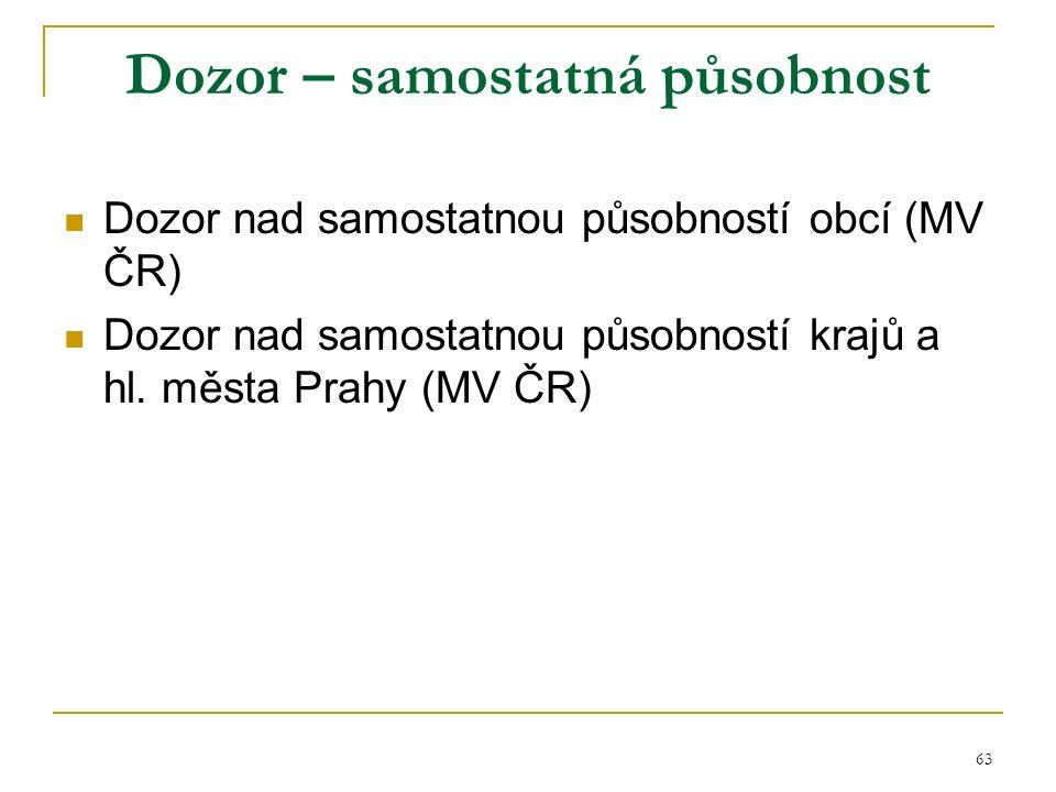 63 Dozor – samostatná působnost Dozor nad samostatnou působností obcí (MV ČR) Dozor nad samostatnou působností krajů a hl.