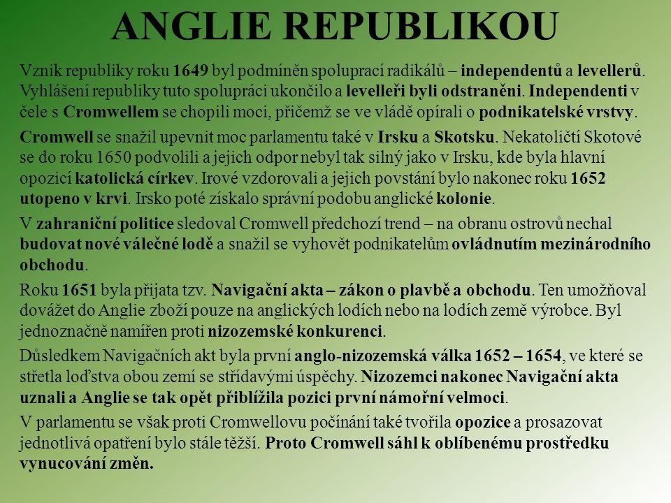 ANGLIE REPUBLIKOU Vznik republiky roku 1649 byl podmíněn spoluprací radikálů – independentů a levellerů.