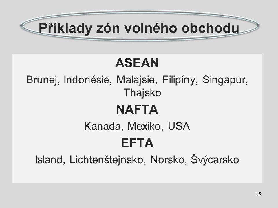 Příklady zón volného obchodu ASEAN Brunej, Indonésie, Malajsie, Filipíny, Singapur, Thajsko NAFTA Kanada, Mexiko, USA EFTA Island, Lichtenštejnsko, Norsko, Švýcarsko 15