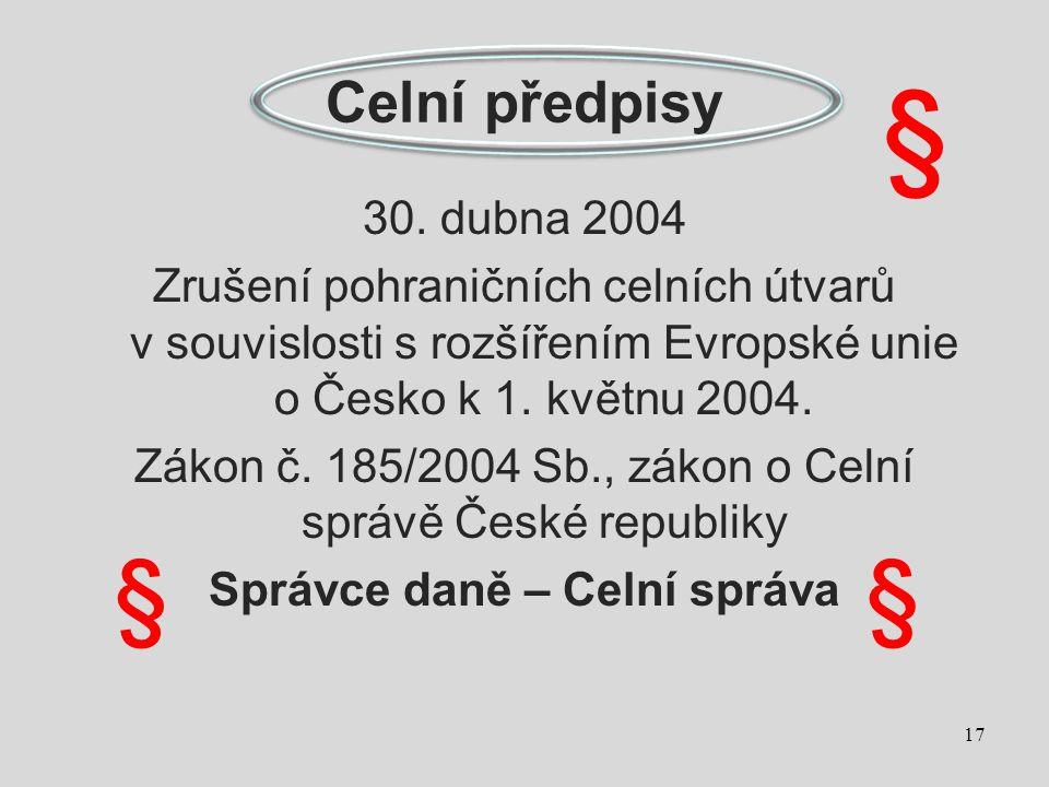 Celní předpisy 30. dubna 2004 Zrušení pohraničních celních útvarů v souvislosti s rozšířením Evropské unie o Česko k 1. květnu 2004. Zákon č. 185/2004