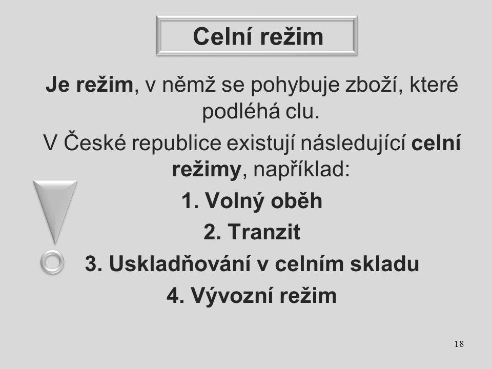 Celní režim Je režim, v němž se pohybuje zboží, které podléhá clu. V České republice existují následující celní režimy, například: 1. Volný oběh 2. Tr