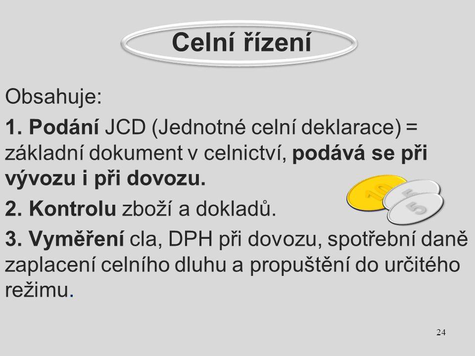 Celní řízení Obsahuje: 1. Podání JCD (Jednotné celní deklarace) = základní dokument v celnictví, podává se při vývozu i při dovozu. 2. Kontrolu zboží