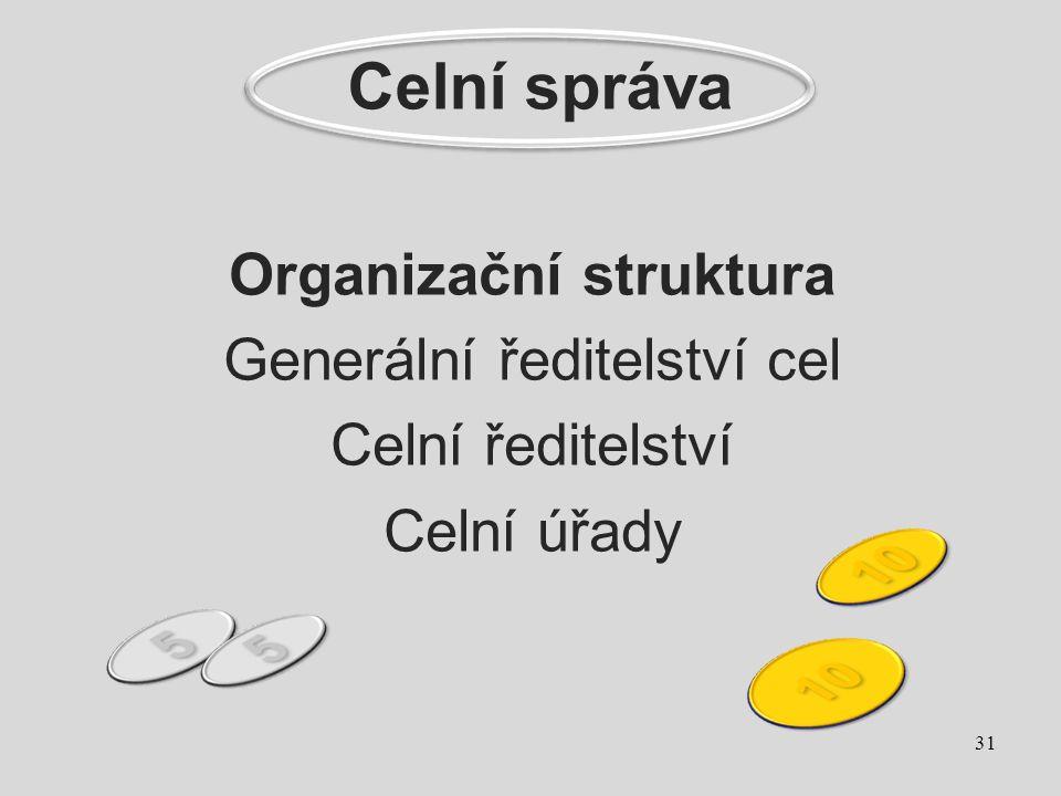 Organizační struktura Generální ředitelství cel Celní ředitelství Celní úřady 31 Celní správa