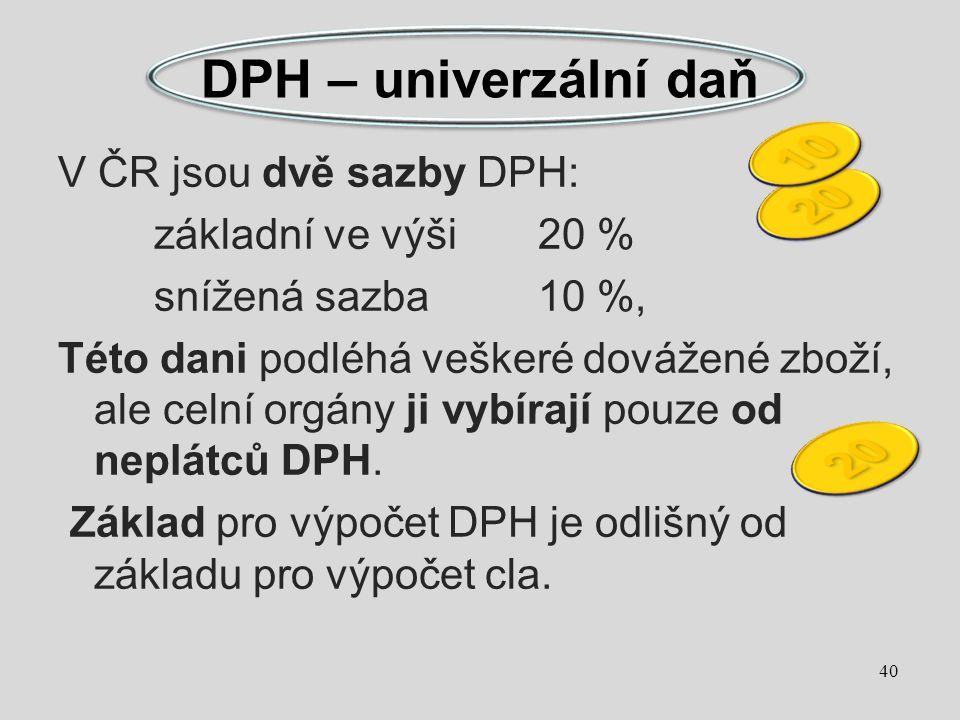V ČR jsou dvě sazby DPH: základní ve výši20 % snížená sazba10 %, Této dani podléhá veškeré dovážené zboží, ale celní orgány ji vybírají pouze od neplá